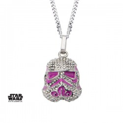 STAR WARS - COLLIER 3D EN EMAIL - STORMTROOPER WITH CLEAR GEM AND PINK ENAMEL FILLED