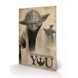 STAR WARS - IMPRESSION SUR BOIS 40X59 - YODA MAY THE FORCE BE WITH YOU