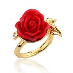 DISNEY - BEAUTY AND THE BEAST - BAGUE - ROSE ENCHANTEE - PLAQUE OR (TAILLE 8)